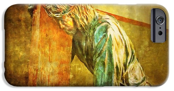 Lianne_schneider Via Dolorosa Print Digital iPhone Cases - Jesus Falls Via Dolorosa 3 iPhone Case by Lianne Schneider