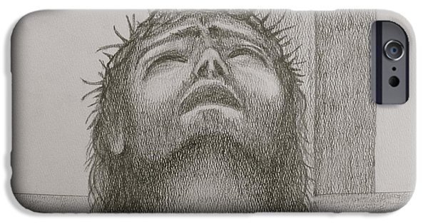 Jesus Drawings iPhone Cases - Jesus iPhone Case by Fanny Diaz