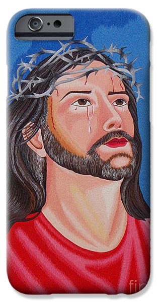 Jesus Tapestries - Textiles iPhone Cases - Jesus hand embroidery iPhone Case by To-Tam Gerwe