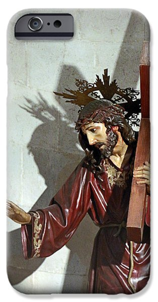 Jesus Crucifiction iPhone Cases - Jesus Holding His Cross iPhone Case by Munir Alawi