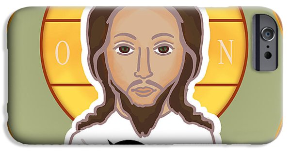 Religious Drawings iPhone Cases - Jesus Iconic iPhone Case by Ghita Andersen