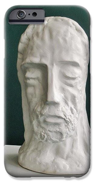 Meditation Sculptures iPhone Cases - Jesus in Prayer 2014 iPhone Case by Karl Leonhardtsberger