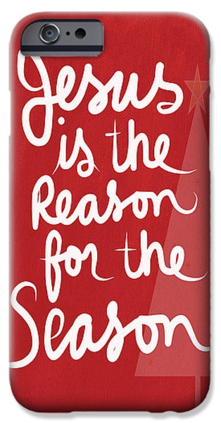 Christmas Mixed Media iPhone Cases - Jesus Is The Reason For The Season- greeting card iPhone Case by Linda Woods