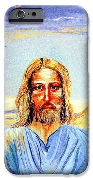 Portrait Paintings iPhone Cases - Jesus iPhone Case by Jane Small