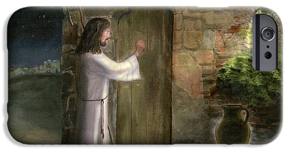 Religious iPhone Cases - Jesus Knocking at the Door iPhone Case by Cecilia  Brendel