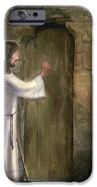 Jesus Knocking on the Door iPhone Case by Cecilia  Brendel