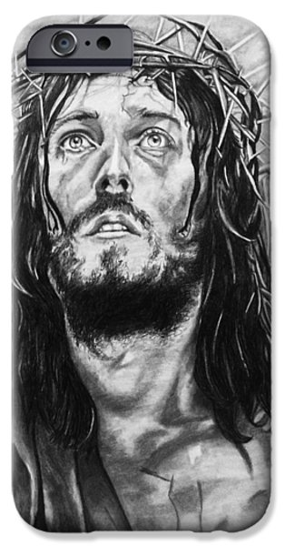 Jesus Drawings iPhone Cases - Jesus iPhone Case by Kristin  O