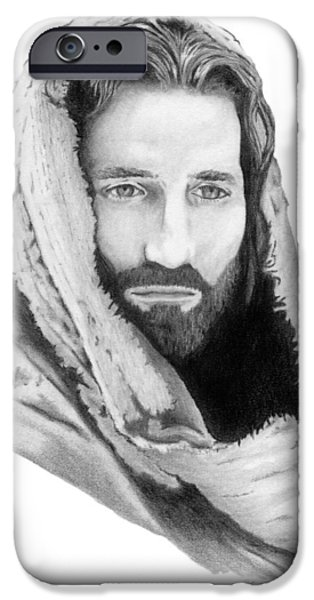 The Passion Of Christ Drawings iPhone Cases - Jesus iPhone Case by Linda Bissett