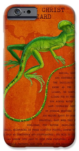 Iguana iPhone Cases - Jesus Lizard iPhone Case by Aged Pixel