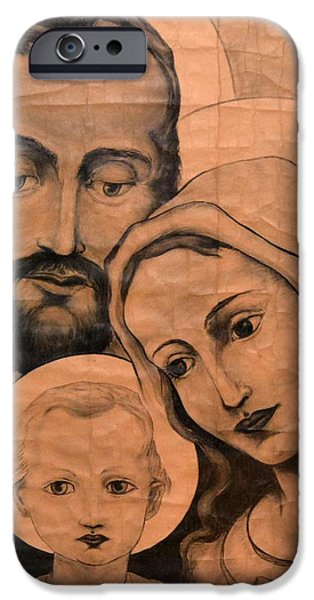 Jesus Drawings iPhone Cases - Jesus Mary and Joseph iPhone Case by Debra Kent