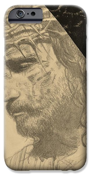 Son Of God Drawings iPhone Cases - Jesus Messiah iPhone Case by Ember Canada