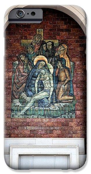 Son Of God Photographs iPhone Cases - Jesus Nos Bracos de Sua Mae iPhone Case by John Rizzuto