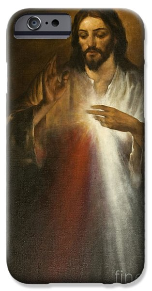 Concept Paintings iPhone Cases - Jesus of Divine Mercy iPhone Case by Dan Radi