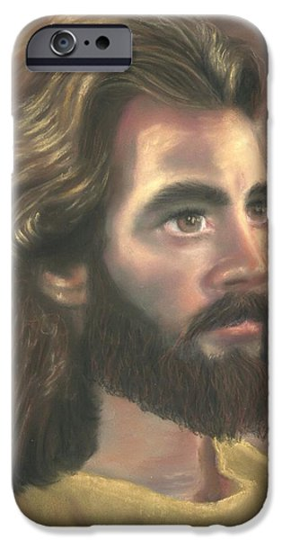 Son Of God Pastels iPhone Cases - Jesus of Nazareth iPhone Case by Kathryn Foster
