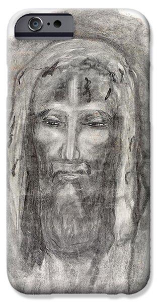 Jesus Drawings iPhone Cases - Jesus on Shroud of Turin iPhone Case by Sara Srubar-Erb