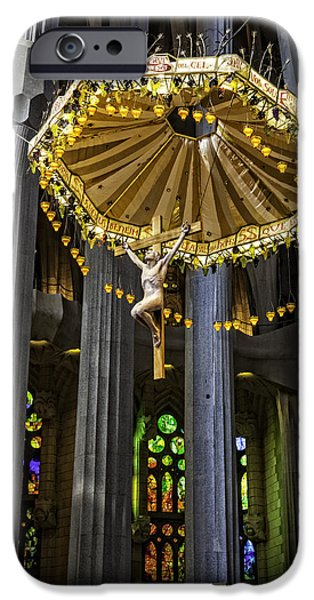 The Vault iPhone Cases - Jesus On The Cross - Sagrada Familia Church - Barcelona iPhone Case by Madeline Ellis