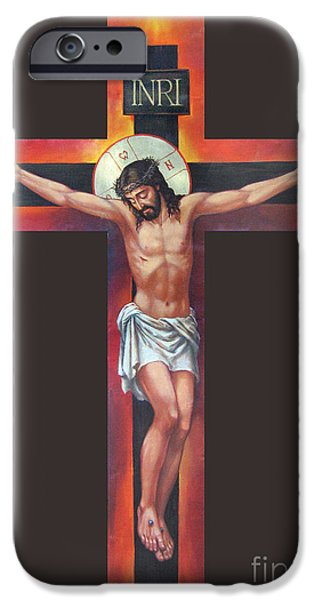 Jesus On The Cross iPhone Case by Zorina Baldescu