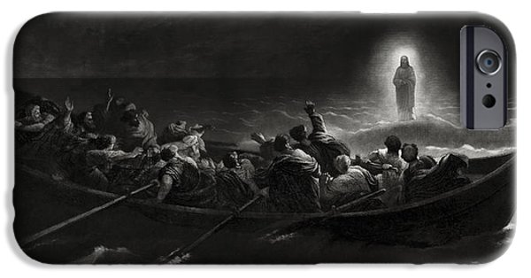 Jesus Crucifiction iPhone Cases - Jesus On The Sea Of Galilee - 1867 iPhone Case by Daniel Hagerman