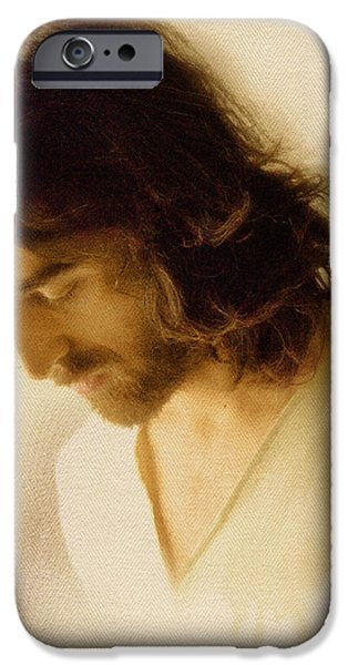 Turin Digital Art iPhone Cases - Jesus Praying iPhone Case by Ray Downing