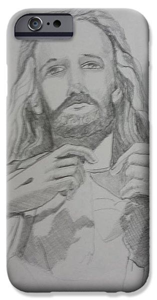 Statue Portrait Drawings iPhone Cases - Jesus iPhone Case by Rosemary Kavanagh