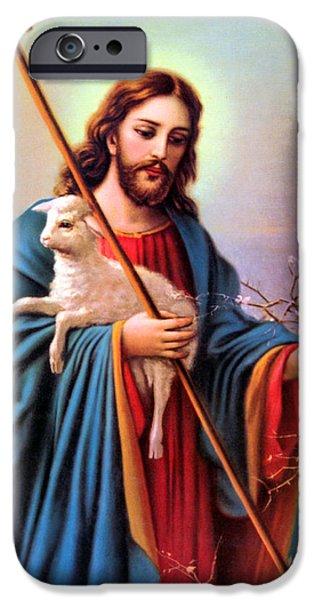 Jesus iPhone Cases - Jesus Shepherd iPhone Case by Munir Alawi