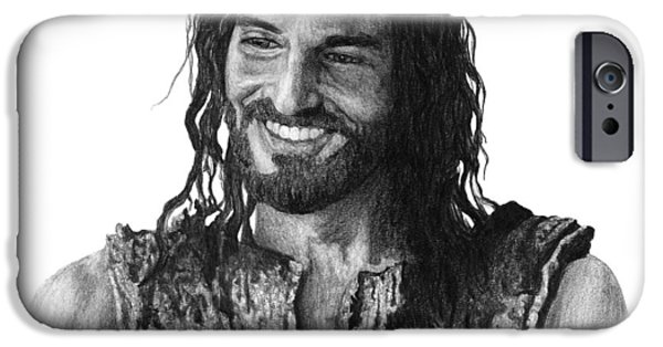 Christ Drawings iPhone Cases - Jesus Smiling iPhone Case by Bobby Shaw