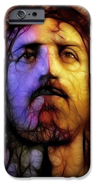 Turin Digital Art iPhone Cases - Jesus - Stained Glass iPhone Case by Ray Downing