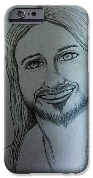 Son Of God Drawings iPhone Cases - Jesus Sweet Smile iPhone Case by Esther Rowden