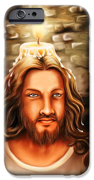 Incarnation iPhone Cases - Jesus- The Candle Light iPhone Case by Arun Sivaprasad