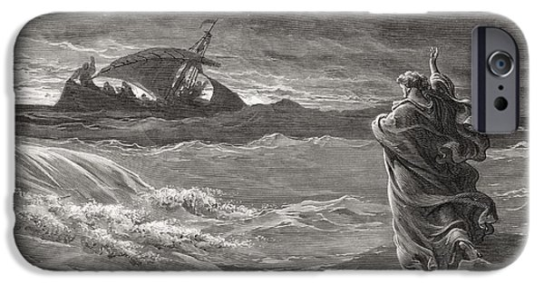 Religion Drawings iPhone Cases - Jesus Walking on the Sea John 6 19 21 iPhone Case by Gustave Dore