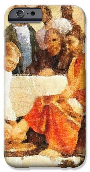 Jesus Washing Apostle's Feet iPhone Case by Dan Sproul