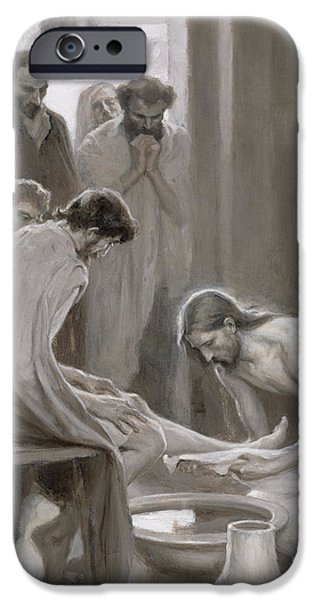 Dirty iPhone Cases - Jesus Washing the Feet of his Disciples iPhone Case by Albert Gustaf Aristides Edelfelt