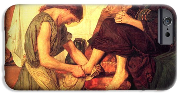 Disciples Paintings iPhone Cases - Jesus Washing the Feet of the Disciples iPhone Case by Philip Ralley