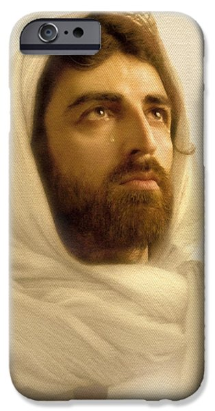 Jesus Face iPhone Cases - Jesus Wept iPhone Case by Ray Downing