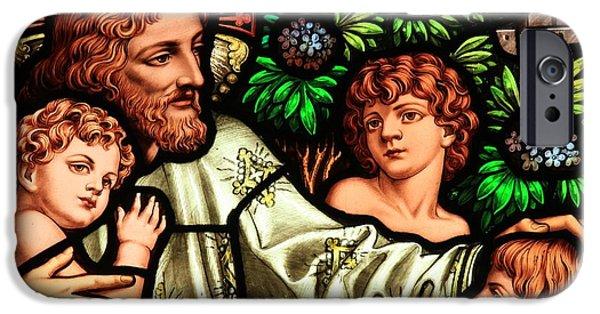 Jesus Artwork iPhone Cases - Jesus With Children iPhone Case by Adam Jewell