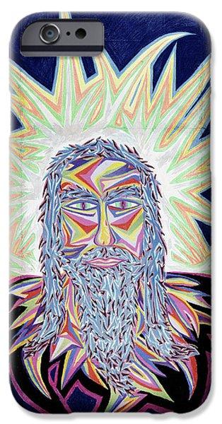 Spiritual Pastels iPhone Cases - Jesus Year 2000 iPhone Case by Robert  SORENSEN