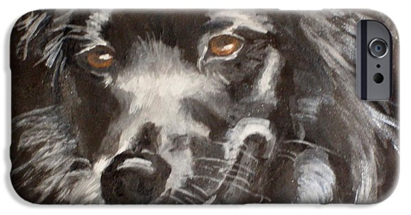 Dog Close-up Drawings iPhone Cases - Jet iPhone Case by Carol Russell
