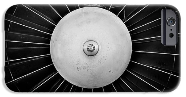 Jet Pyrography iPhone Cases - Jet engine closeup in black and white  iPhone Case by Oliver Sved