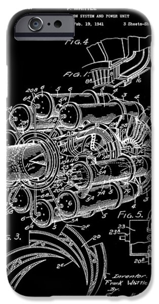 Combustion iPhone Cases - Jet Engine Patent 1941 - Black iPhone Case by Stephen Younts