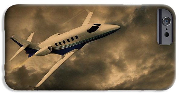 Passenger Plane Mixed Media iPhone Cases - Jet Through The Clouds iPhone Case by David Dehner