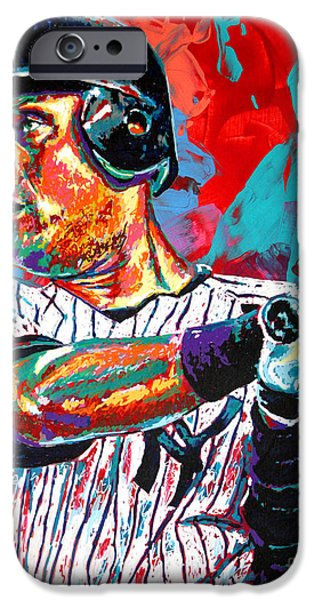 Pinstripes iPhone Cases - Jeter at Bat iPhone Case by Maria Arango