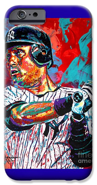 Jeter at Bat iPhone Case by Maria Arango