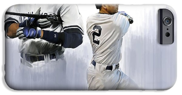 Nj iPhone Cases - Jeter Derek Jeter iPhone Case by Iconic Images Art Gallery David Pucciarelli