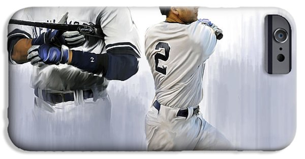 Works Drawings iPhone Cases - Jeter V Derek Jeter iPhone Case by Iconic Images Art Gallery David Pucciarelli