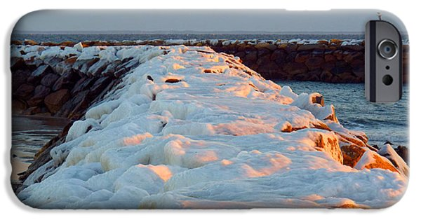 Harbor Sesuit Harbor iPhone Cases - Jetties in January iPhone Case by Dianne Cowen