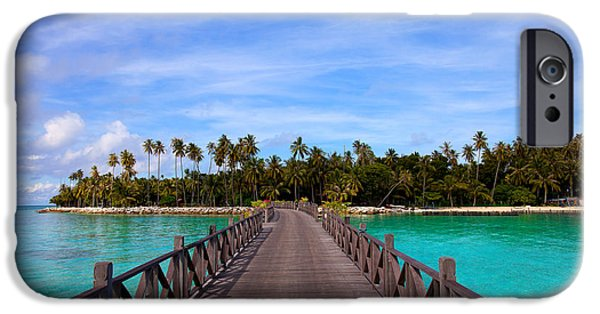 Exoticism iPhone Cases - Jetty on tropical island iPhone Case by Fototrav Print