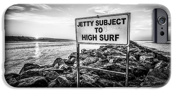 Newport Photographs iPhone Cases - Jetty Subject to High Surf Sign Black and White Picture iPhone Case by Paul Velgos
