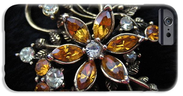 Antiques Jewelry iPhone Cases - Jeweled Brooch iPhone Case by Dotti Hannum