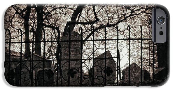 Headstone iPhone Cases - Jewish Cemetery Prague iPhone Case by Joan Carroll