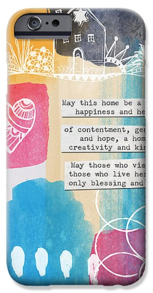 Card Mixed Media iPhone Cases - Jewish Home Blessing -Greeting Cards and Prints iPhone Case by Linda Woods